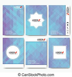 Modern vector templates for brochure, flyer, cover magazine or report in A4 size. Business, science, medicine and technology design . Background with blue triangles