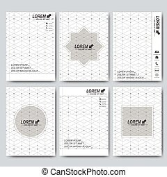Modern vector templates for brochure, flyer, cover magazine or report in A4 size. Business, science, medicine and technology design. Connected lines with dots
