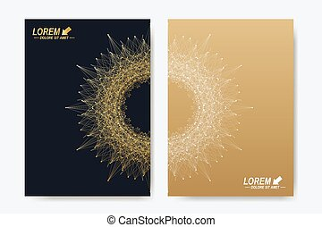 Modern vector templates for brochure, Leaflet, flyer, cover, magazine or annual report. Business, science, medicine and technology design book layout. Abstract presentation with round molecule