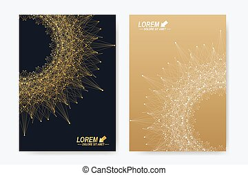 Modern vector templates for brochure, Leaflet, flyer, cover, magazine or annual report in A4 size. Business, science, medicine and technology design book layout. Abstract presentation with round form
