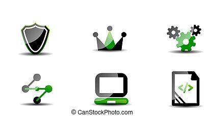 Modern vector web green & black icon set