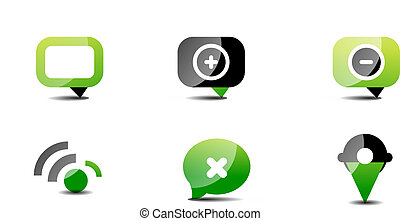 Modern vector web green & black icon set