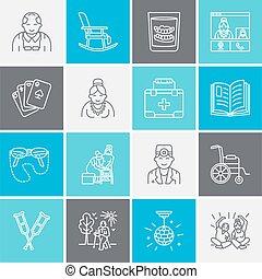 modern, vektor, linie, ikone, von, älter, und, senioren, care., altersheim, element, -, alte leute, rollstuhl, freizeit, klinikum, anruf-taste, activities., linear, piktogramm, mit, editable, schlag, für, standort, broschüre