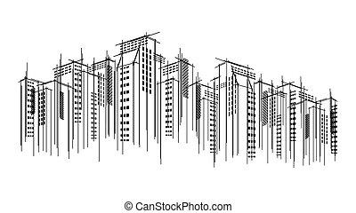 modern, vektor, sötét, város, horizont, scape, ég sárkaparó, áttekintés, kéz, húzott, háttér., építészeti, ügy, épület