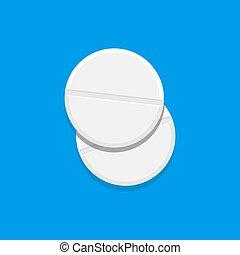 modern, vektor, wohnung, design, pillen, illustration., top., zwei, einfache