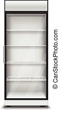 Modern vertical refrigerator for isolated vector