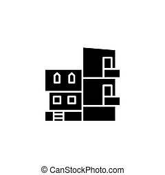 Modern villa black icon concept. Modern villa flat  vector symbol, sign, illustration.