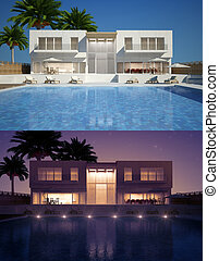 Modern villa day and night view - Modern villa with...