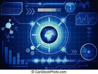 Modern virtual technology background interface, vector