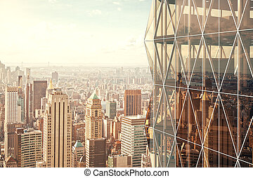 Modern vitreous skyscraper with city view background