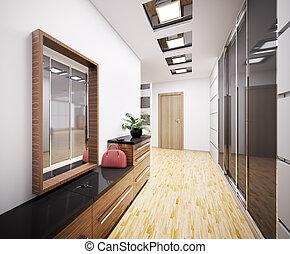 modern, vorraum, inneneinrichtung, 3d
