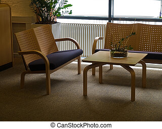 Modern waiting room corner reception