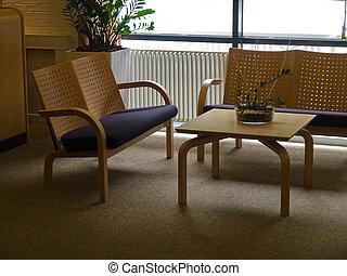 Modern waiting room corner reception