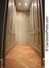 wardrobe - Modern walk-in wardrobe with wooden parquet floor