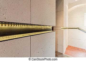 Modern wall in the corridor