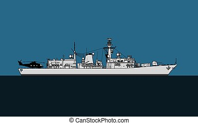 Modern warship. Royal navy anti-submarine frigate.