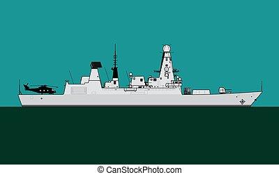 Modern warship. Royal navy guided missile destroyer. - ...
