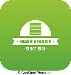 Modern wash service icon green vector