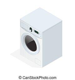 Modern washing machine isolated on white background. Flat 3d vector isometric illustration.