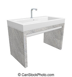 Modern washroom sink set with ceramic or acrylic wash basin, chrome fixtures, and granite base, 3d illustration, isolated against a white background