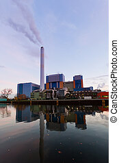 Modern waste-to-energy plant Oberhausen Germany - Building...