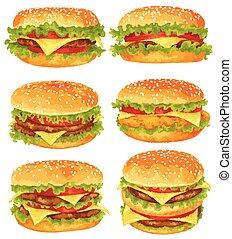 Modern watercolor design vector illustration, set of big burgers