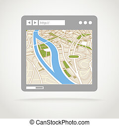 Modern web browser window with abstract city map