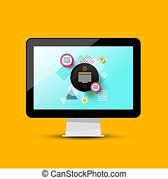Modern Web Design on Computer Screen. Vector 3d PC Illustration.