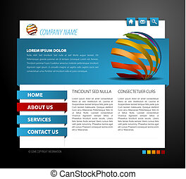 Modern web page template - with 3d navigation items