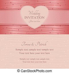 Modern wedding invitation, pink