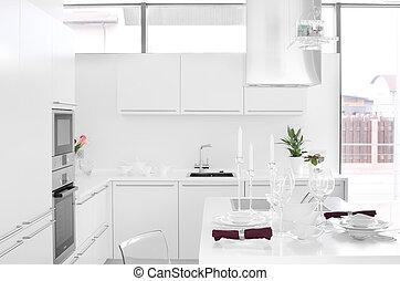 modern, weißes, kueche , mit, stilvoll, möbel