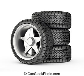 wheels - modern wheels isolated on a white background