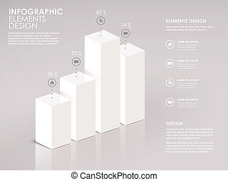 modern white 3d bar chart infographic elements