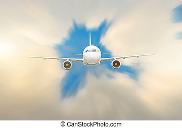Modern white airplane fly from the lumen into the clouds at ...