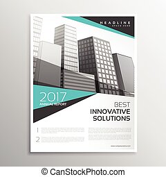 modern white and blue brochure annual report cover template design