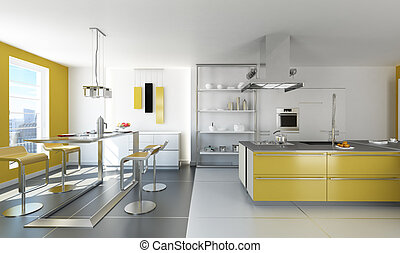 Modern white and yellow kitchen.