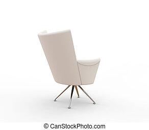 Modern white armchair - back view