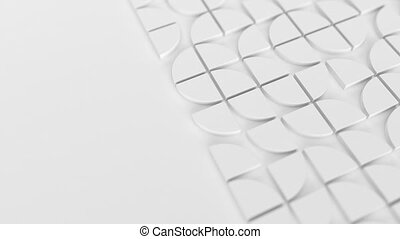 Modern white background with swiss styled semicircular 3d elements changing pattern. Minimal light background with shallow DOF