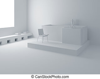 Modern white bathroom - Designer bathroom. High resolution...