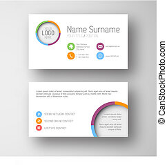 Modern white business card template with flat user interface...