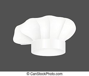 Modern white chef hat restaurant uniform costume wear fabric cooker fashion vector illustration.