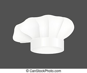 Modern white chef hat restaurant uniform costume wear fabric cooker fashion vector illustration.