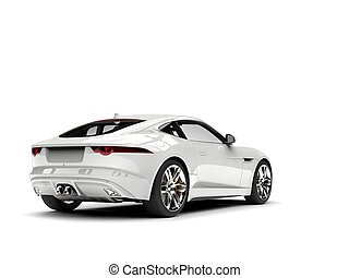 Modern white concept sports car - tail view