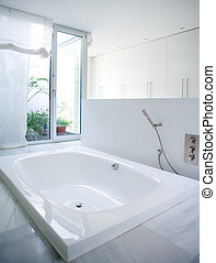 Modern white house bathroom bathtub with courtyard skylight...