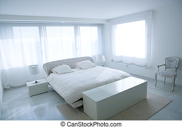 Modern white house bedroom with marble floor and luminous...