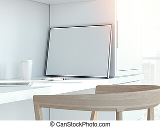 Modern white interior with blank picture frame. 3d rendering