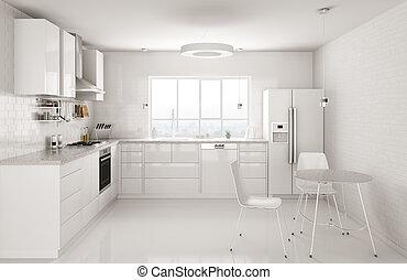 Modern white kitchen interior 3d rendering - Modern white...