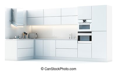 Modern white kitchen isolated on wh