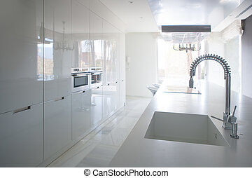 Modern white kitchen perspective with integrated bench sink...