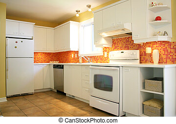 Modern white kitchen with orange and red ceramic tyles